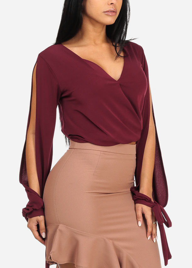 Solid Burgundy Elastic Hem Wrap Front Top