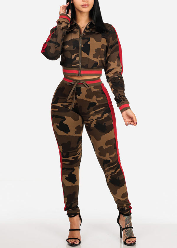 Red Camo Cropped Jacket W Pants (2 PCE SET)