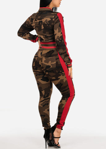 Image of Red Camo Zip Up Cropped Jacket W High Rise Pants (2 PCE SET)