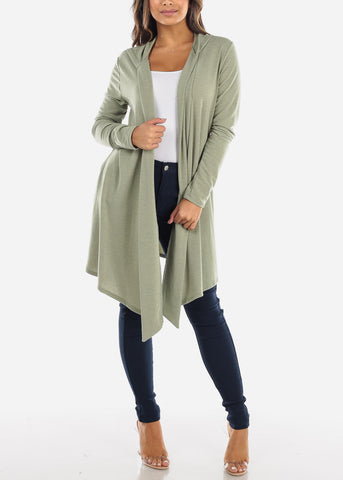 Image of Green Long Hooded Cardigan BT2333OLV