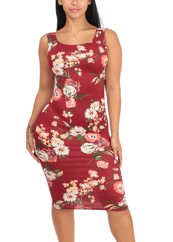 Sexy Slim Fit Bodycon Sleeveless Floral Print Midi Knee Length Stretchy Burgundy Dress