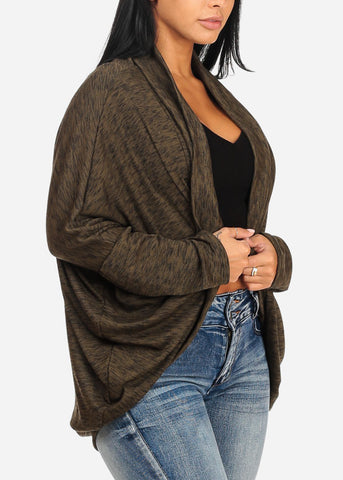 Casual Open Front Olive Cardigan