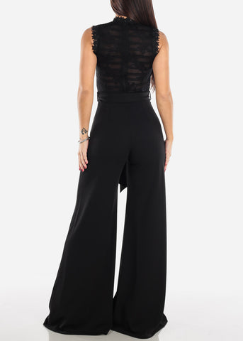 Image of Black Crochet Lace Jumpsuit