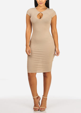 Image of Casual Khaki Stretchy Bodycon Dress