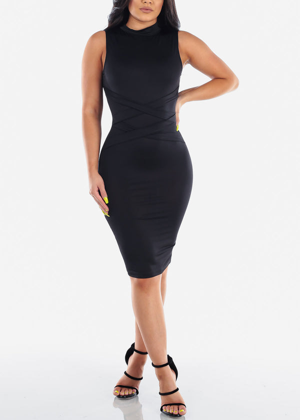 Women's Junior Ladies Sexy Night Out Clubwear Party Mock Neck Tight Fit Sleeveless Black Bodycon Midi Dress With Front Strap Design