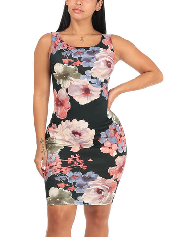 Image of Sexy Slim Fit Bodycon Sleeveless Floral Print Black Midi Knee Length Stretchy Dress