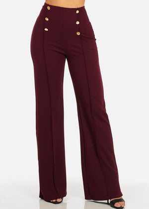 Burgundy High Waist Wide Leg Dress Pants