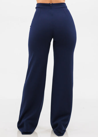 Elegant High Rise Navy Pants