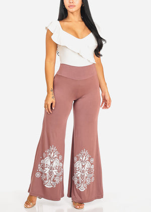 Pink Floral High Waist Wide Leg Pants
