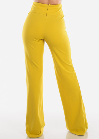 Image of High Rise Yellow Wide Leg Pants
