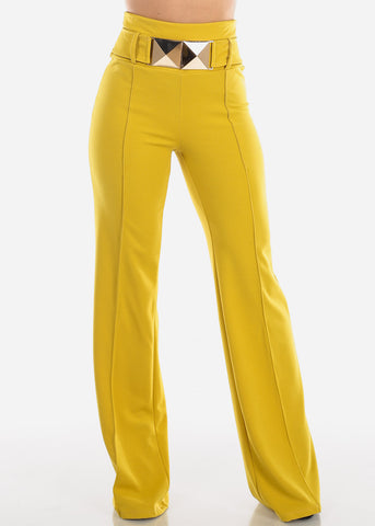High Rise Yellow Wide Leg Pants