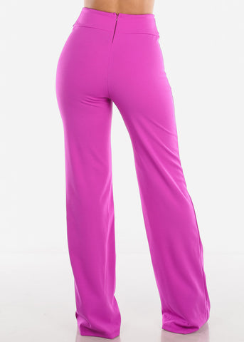 High Rise Fuchsia Wide Leg Pants