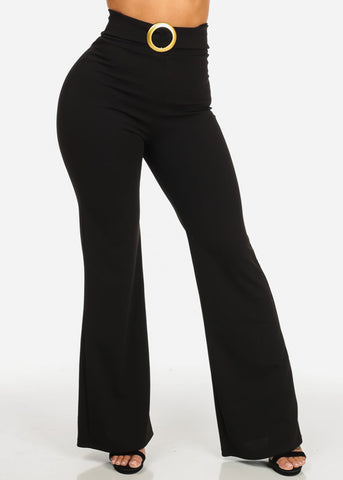 Elegant Black High Waisted Wide Leg Pants