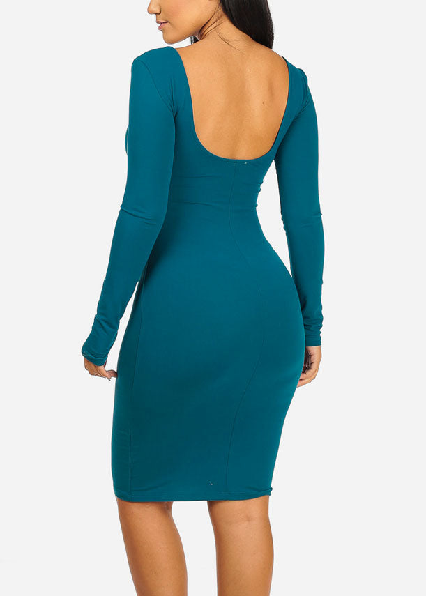 UNFKNBLVBL Graphic Teal Bodycon Dress