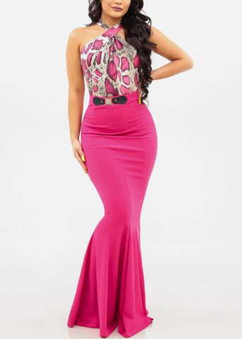 Image of Women's Junior Ladies Must Have Party Night Out Gala Dressy High Rise Fuchsia Hot Pink Flared Mermaid Maxi Skirt