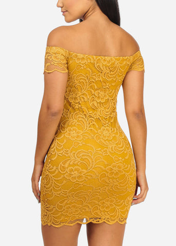 Sexy Off Shoulder Floral Lace Mustard Dress