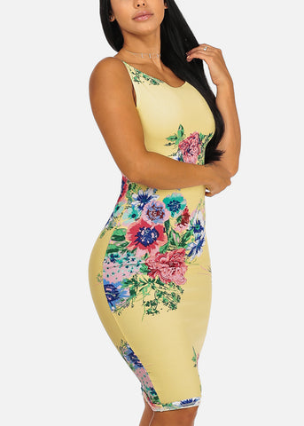 Sexy Clubwear Slim Fit Knee Length Floral Print Yellow Bodycon Dress