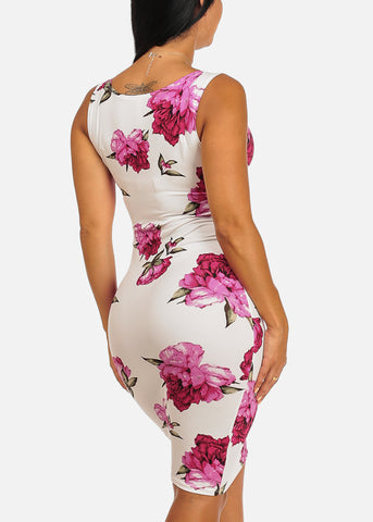 Sexy Clubwear Slim Fit Knee Length Pink Floral Print White Bodycon Dress