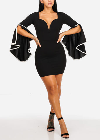 Sexy Black Angel Sleeve Bodycon Dress