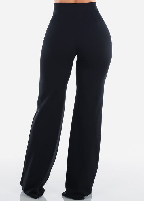 Elegant High Rise Black Pants