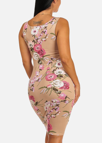 Beige Floral Print Clubwear Slim Fit Knee Length Bodycon Dress