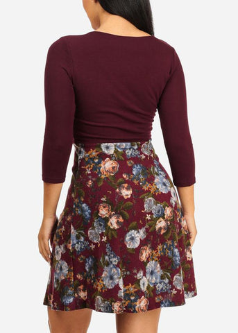 Wrap Front Burgundy Dress