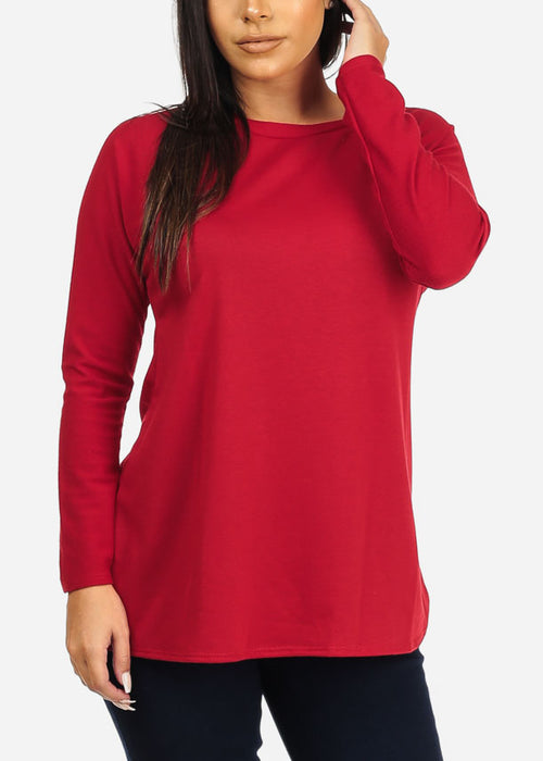 Back Cut Out Red Tunic Top