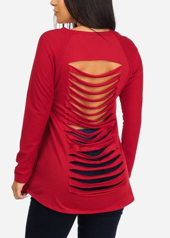 Image of Back Cut Out Red Tunic Top