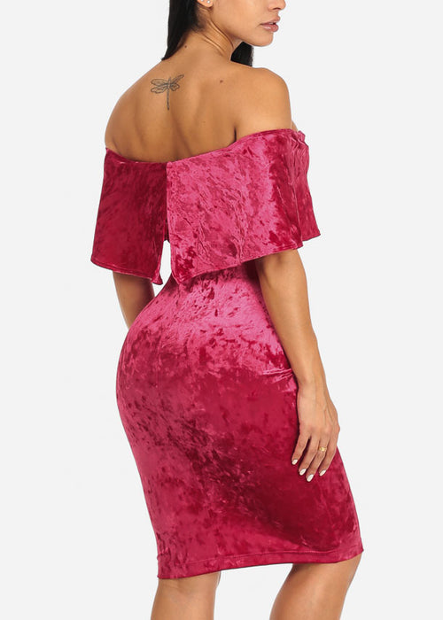Off-Shoulder Velvet Dress