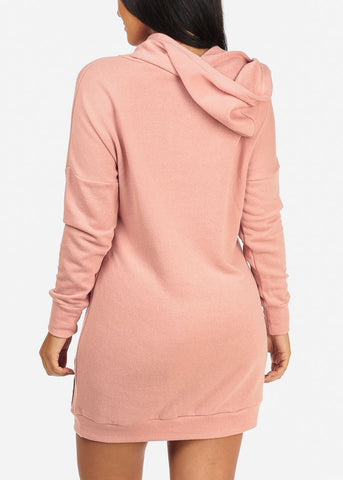 Pink Groovy Kangaroo Pocket Dress