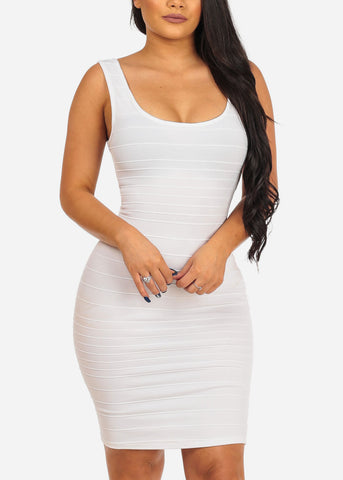 Women's Junior Sexy Night Out Club Wear Solid White Bandage Style With back Crossover Design Bodycon White Dress