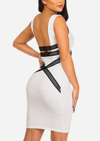 Image of Women's Junior Sexy Night Out Club Wear Solid White Bandage Style With back Crossover Design Bodycon White Dress
