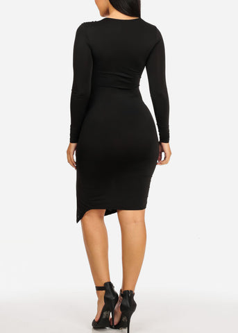 Sexy Black Ruched Bodycon Dress