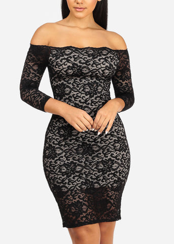 Image of Sexy Black Floral Lace Dress