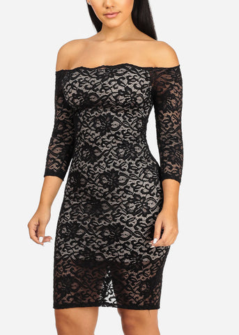 Sexy Black Floral Lace Dress