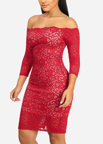 Image of Sexy Red Floral Lace Dress