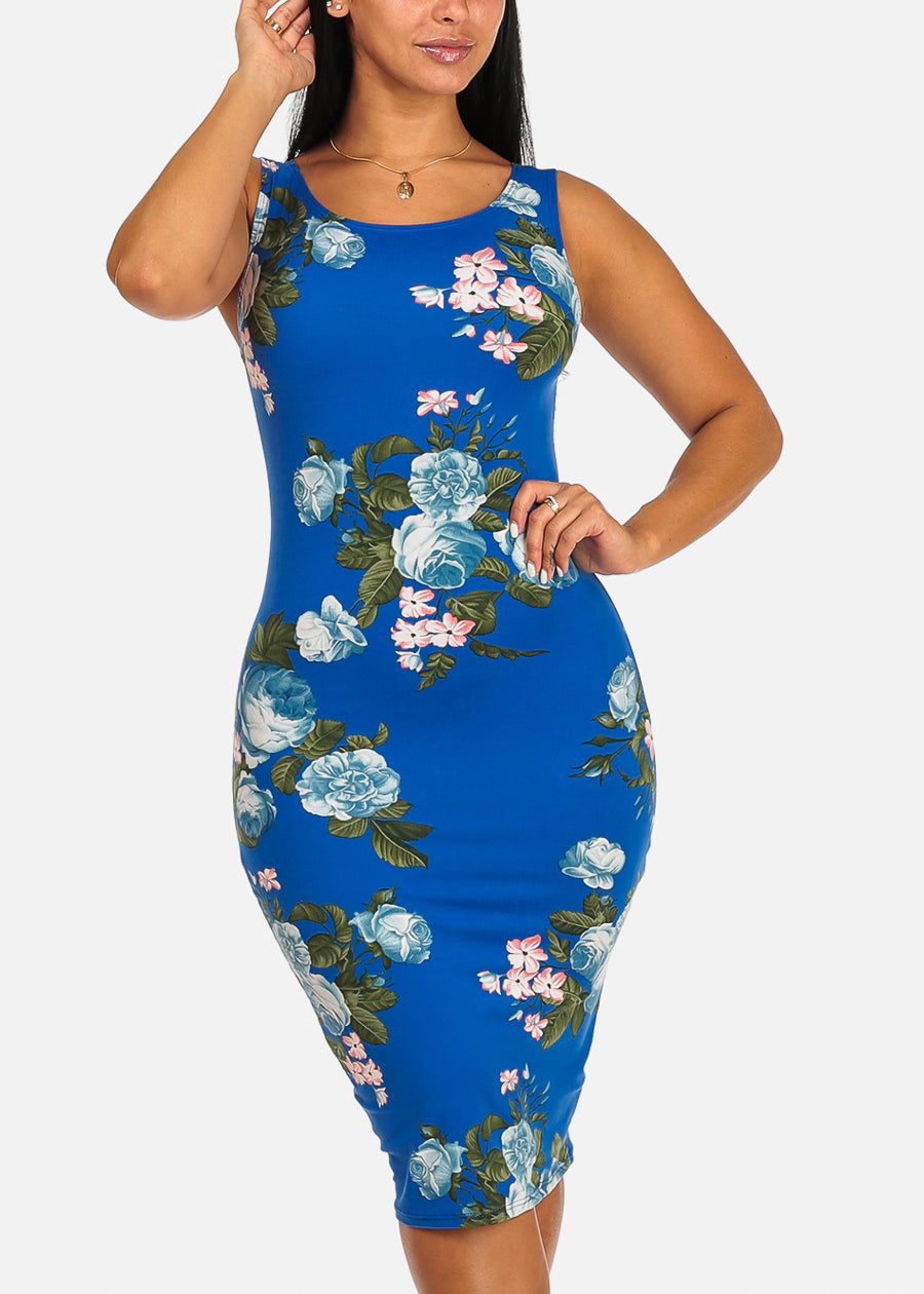 Blue Floral Print Clubwear Slim Fit Knee Length Bodycon Dress