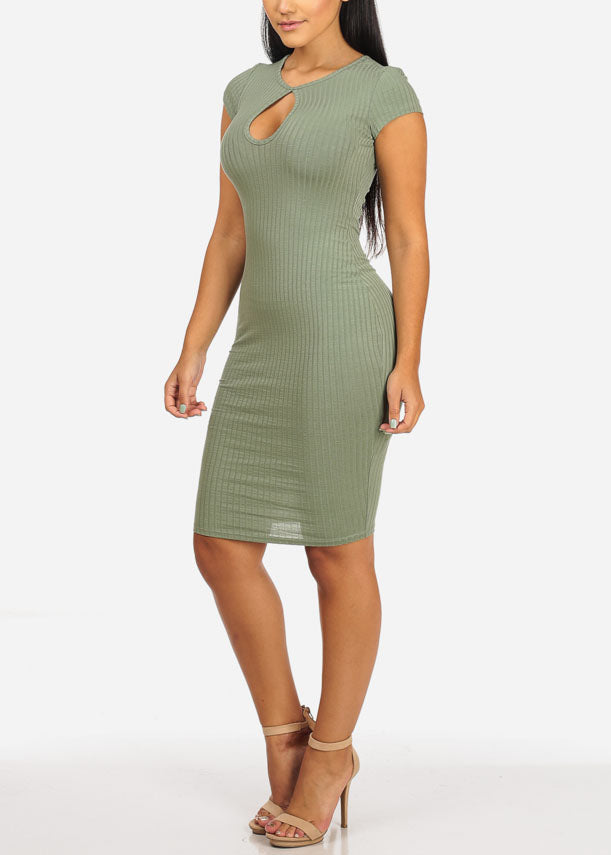Casual Sage Stretchy Bodycon Dress