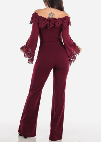 Image of Off Shoulder Crochet Trim Wine Jumpsuit