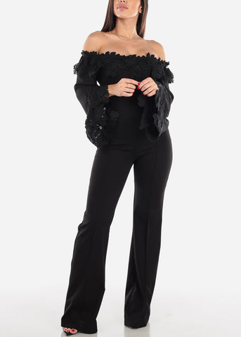 Image of Off Shoulder Crochet Trim Black Jumpsuit
