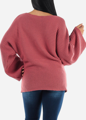 Image of Loose Mauve Ribbed Knit Sweater