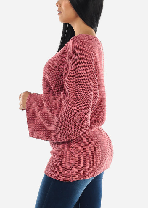 Loose Mauve Ribbed Knit Sweater