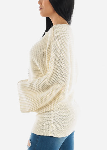 Image of Loose Ivory Ribbed Knit Sweater