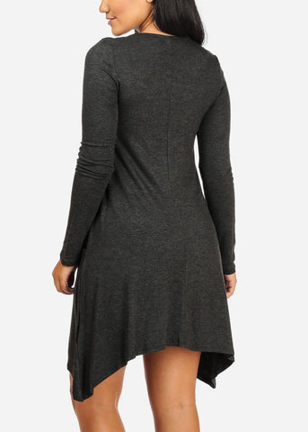 Image of Casual  Asymmetrical Charcoal Dress