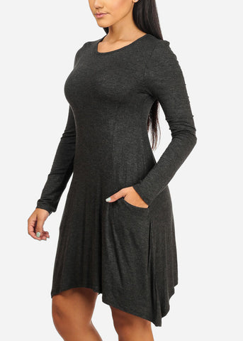 Casual  Asymmetrical Charcoal Dress