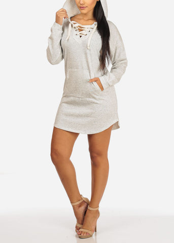 Light Grey Lace Up Mini Dress