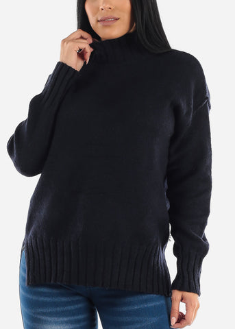 Navy Knitted Long Sleeve Turtle Neck Sweatshirt
