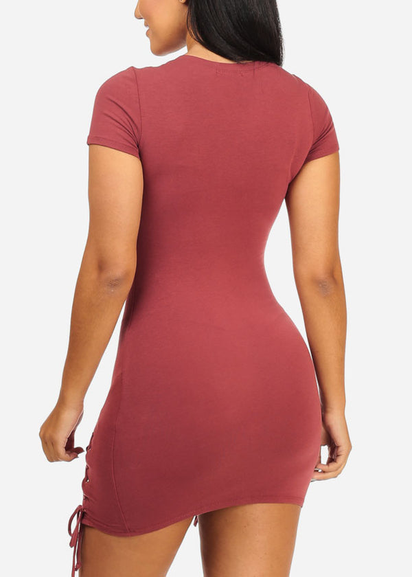 Mauve Stylish Lace Up Bodycon Dress