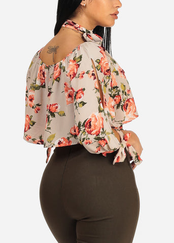 Latte Floral Flowy Crop Top