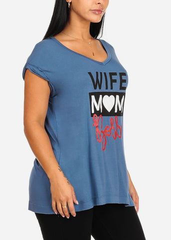 Wife Mom Boss Graphic Blue Top